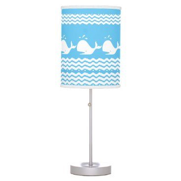 Beach Themed Whale and waves Light Blue and White Custom Lamp