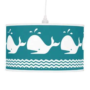 Beach Themed Whale and waves Teal Blue and White Pendant Lamp