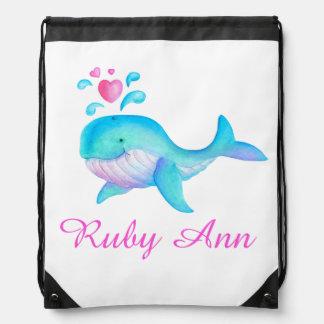 Whale art kids name aqua pink drawstring bag