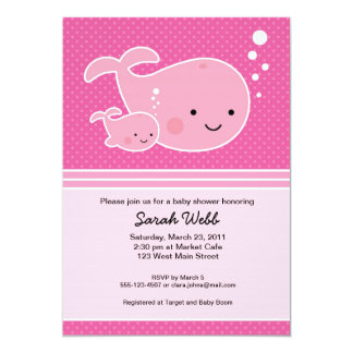 Whale Baby and Mommy Pink Invitation