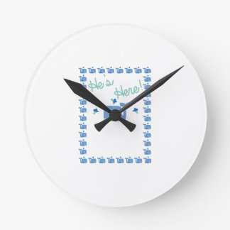 Whale Baby Announcement Round Wall Clocks