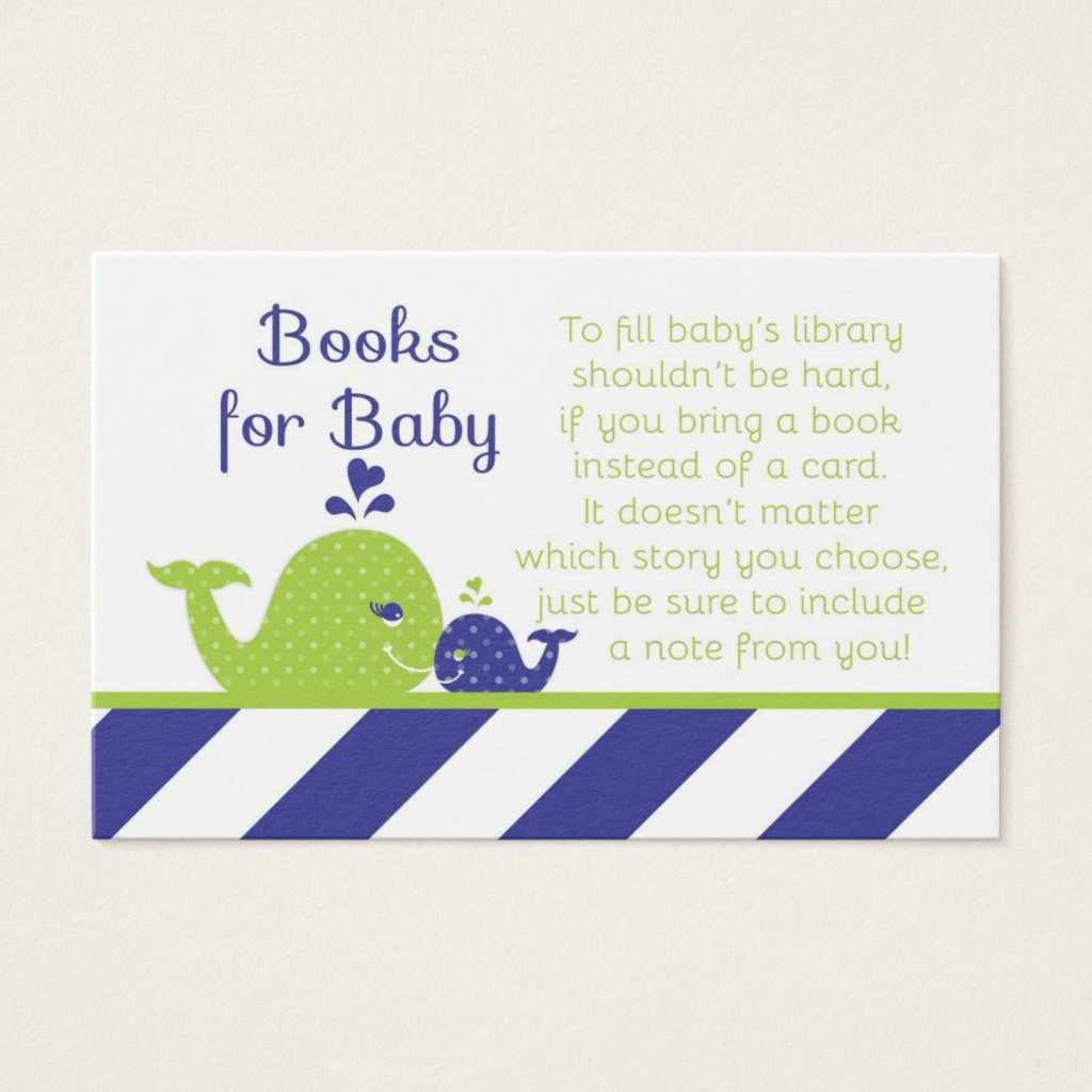 Whale Baby Shower Book Request Cards, Navy Green