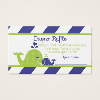Whale Baby Shower Diaper Raffle Ticket, Navy Green Business Card