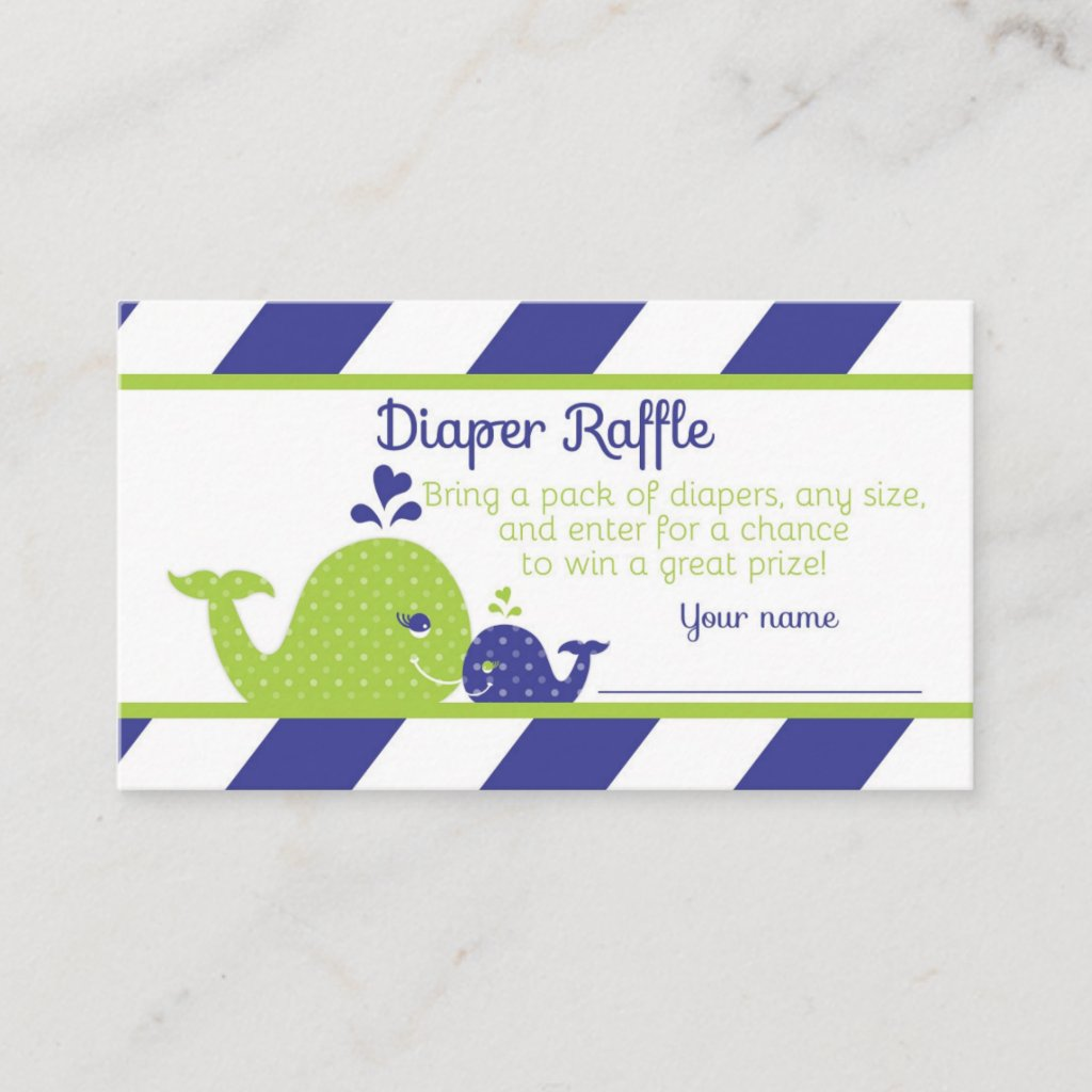 Whale Baby Shower Diaper Raffle Ticket, Navy Green Enclosure Card