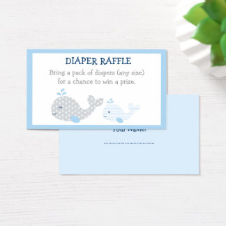 Whale Baby Shower Diaper Raffle Tickets