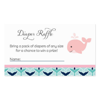 Whale Baby Shower Diaper Raffle Tickets Business Card