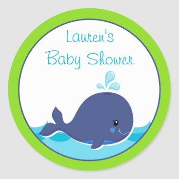 Toddler & Baby themed Whale Baby Shower Favor Stickers