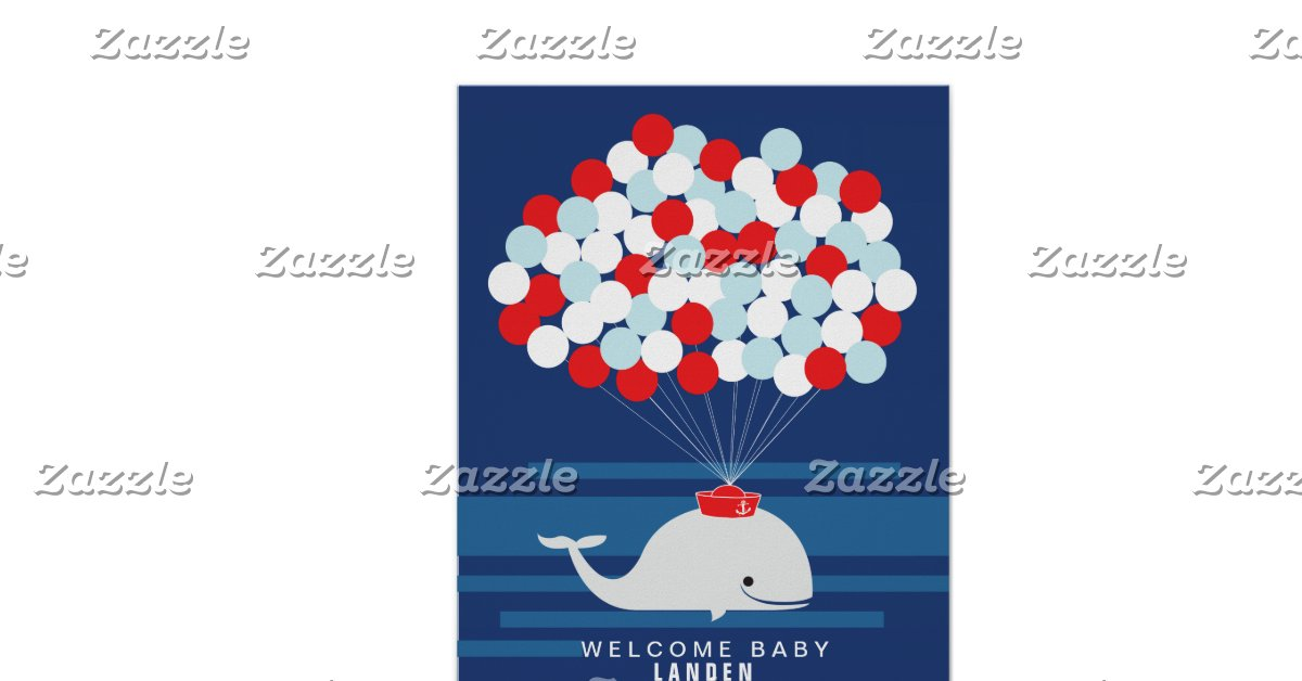 whale baby shower guest book print zazzle