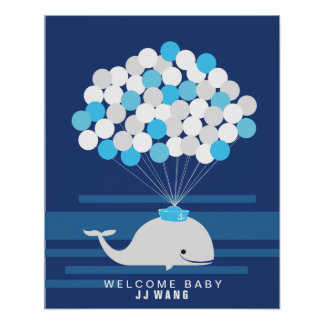 Whale | Baby shower guest book Print
