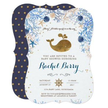 Toddler & Baby themed Whale Baby Shower Invitation