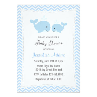 Whale Baby Shower Invitation Blue