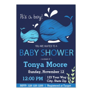 whale baby shower invitations & announcements | zazzle, Baby shower invitations