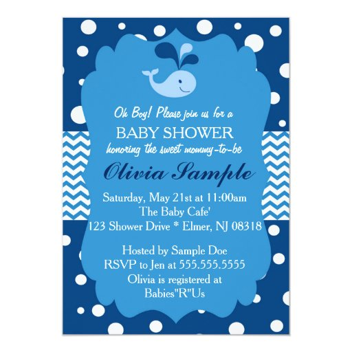 Whale Baby Shower Invitation, Nautical Baby shower 5x7 Paper Invitation Card