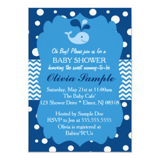 Whale Baby Shower Invitation, Nautical Baby Shower Card