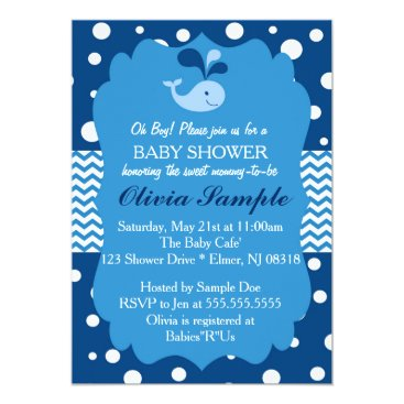 Toddler & Baby themed Whale Baby Shower Invitation, Nautical Baby shower Card