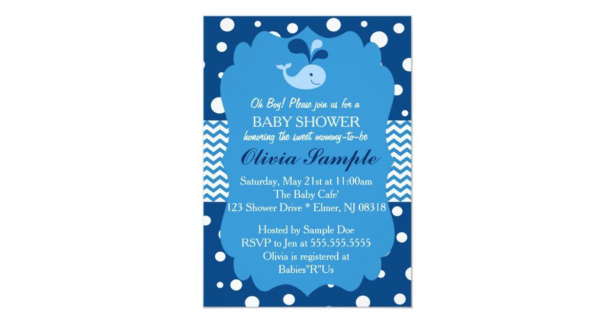 Whale Baby Shower Invitation, Nautical Baby shower Card | Zazzle.com