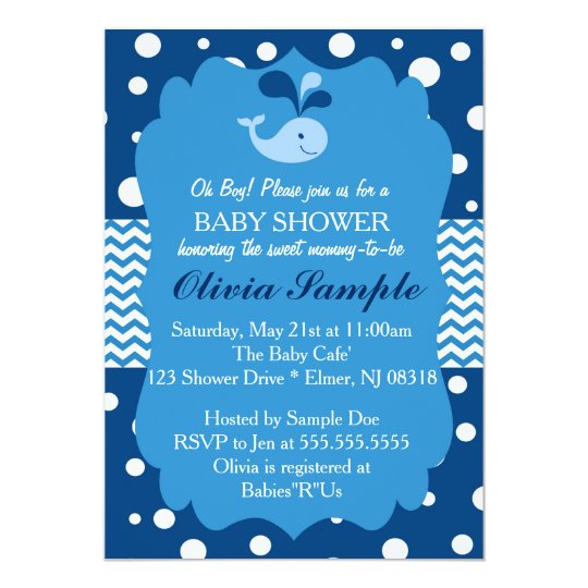 Amazing Whale Baby Shower Invitation, Nautical Baby Shower Invitation