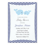 Whale Baby Shower Invitation Navy Blue