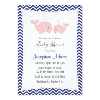 Whale Baby Shower Invitation Pink Navy Blue