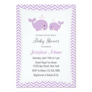 Whale Baby Shower Invitation Purple