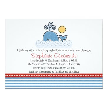 Beach Themed Whale Baby Shower Invitations