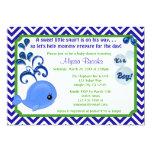 "Whale Baby Shower Invitations Chevron Blue Green 5"" X 7"" Invitation Card"