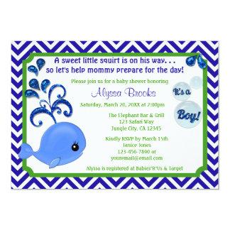 Whale Baby Shower Invitations Chevron Blue Green