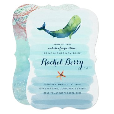 Toddler & Baby themed Whale Baby Shower Invite