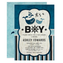 Whale Baby Shower Invite Ahoy It's a Boy Nautical