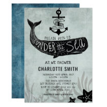 Whale Baby Shower Invite Vintage Nautical Invite