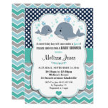Whale Baby Shower Personalized Invitation Baby Boy