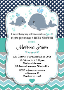 Whale Baby Shower Personalized Invitation Boy