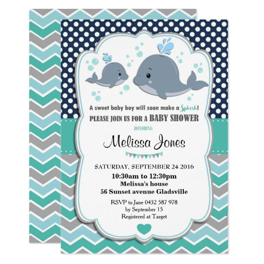 Whale Baby Shower Personalized Invitation Baby Boy Zazzle Com