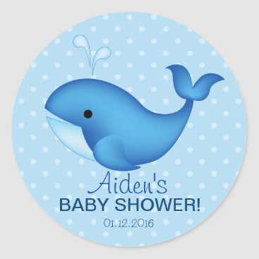 Beach Themed Whale Baby shower thank you sticker