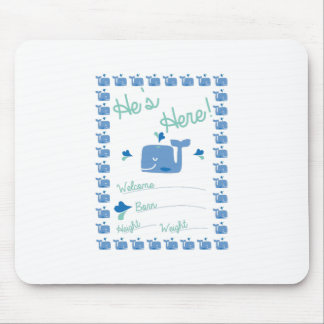 Whale Birth Announcement Mouse Pad
