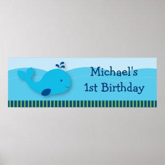 Whale Birthday Banner Print