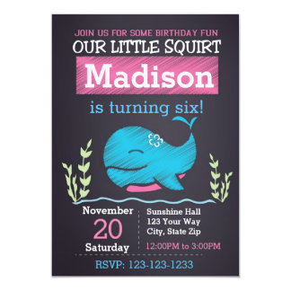 Whale Birthday Invitation (girl)