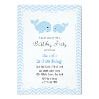Whale Birthday Party Invitation Blue