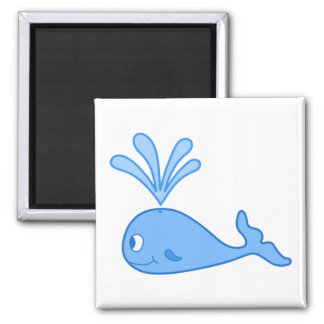 Whale, Blue. 2 Inch Square Magnet