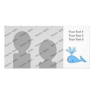 Whale Blue Customized Photo Card