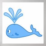 Whale, Blue. Print