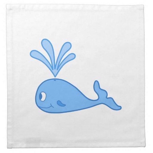 Whale, Blue. Printed Napkins