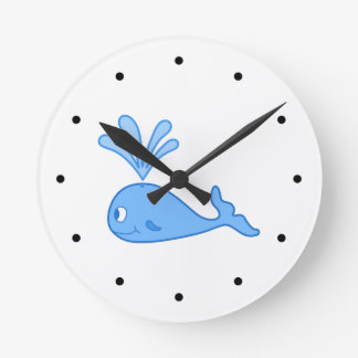 Whale, Blue. Round Clock
