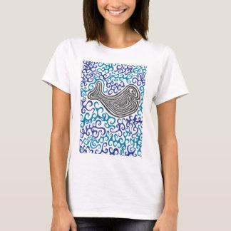 Whale blue swirls sea design T-Shirt