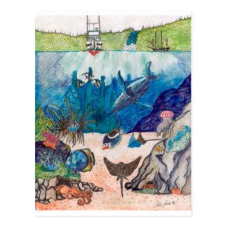 Whale Boat Fish Sea Underwater Art Colin Peek Post Cards