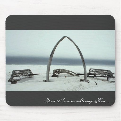 Whale Bone Rib Arc and Skin Boat Frames at Barrow, Mouse Pad