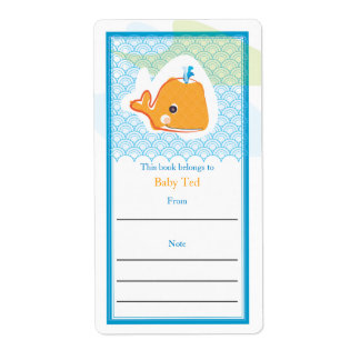 Whale Bookplate Custom Shipping Label