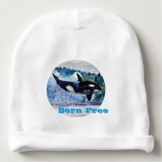 Whale Born Free Custom Baby Cotton Beanie