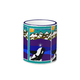 Whale breaching for the midnight sun alaska coffee ringer mug