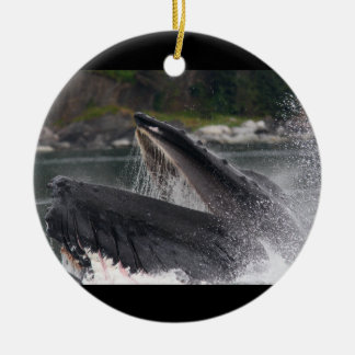 whale breaching the water ceramic ornament
